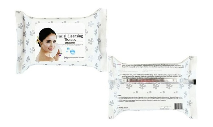 Facial Cleansing Tissues Face 60 Pre-Moistened Refreshing Makeup Remover