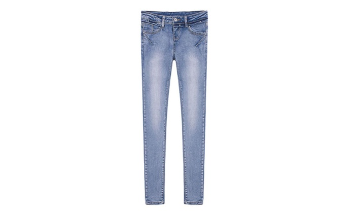 Women's Skinny Cotton Blend Solid Casual Slim Fit Jeans