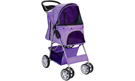 4-Wheel Easy Folding Pet Stroller For Dogs and Cats