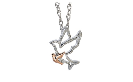 Diamond Dove Mom & Child Necklace b8044060-f206-4a14-97d8-f4dc627f47b9
