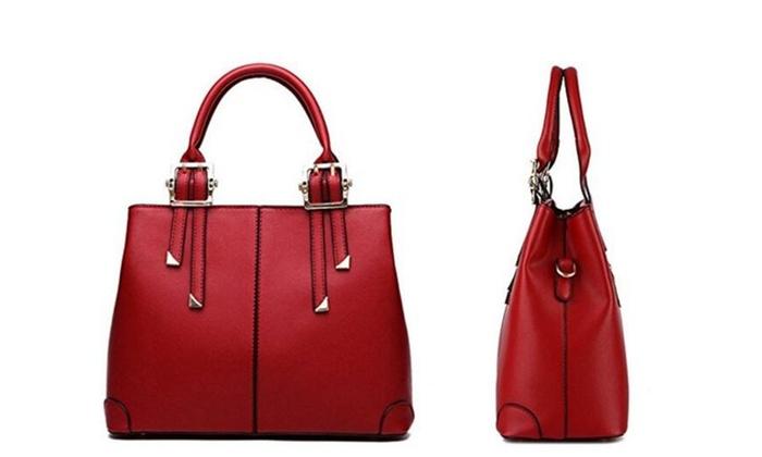 Womens Vintage PU leather Tote Satchel Handbag Shoulder Bag