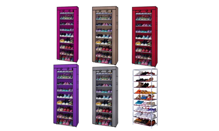 10 tier home nonwoven vertical shoe rack organizer with cover - Vertical Shoe Rack