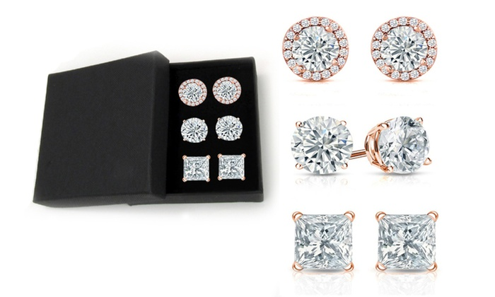 Set Of 3 18k Rose Gold Plated Sterling Silver Stud W Gift Box Made With Swarovski Crystal By Mina Bloom