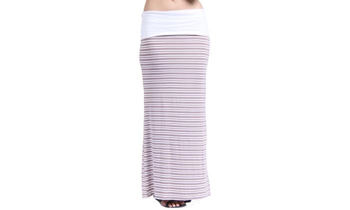 24/7 Comfort Apparel Women's Hazel Stripe Printed Fold-Over Maxi Skirt