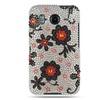 Insten Hard Rhinestone Flowers Case For HTC Inspire 4G White/Black