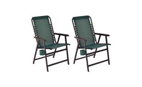 Set Of Two Folding Outdoor Arm Chair Steel Frame W/ Cup Holder 31b926e2-6cb0-4704-b185-552c3ea0255e