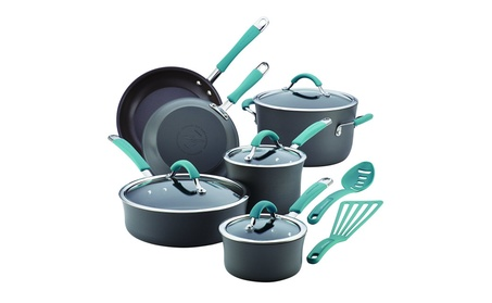 Rachael Ray Cucina 87641 12-Piece Cookware Set, Gray, Agave Blue Handle 263a6614-c0ee-45df-a440-2ce18c2b6db7