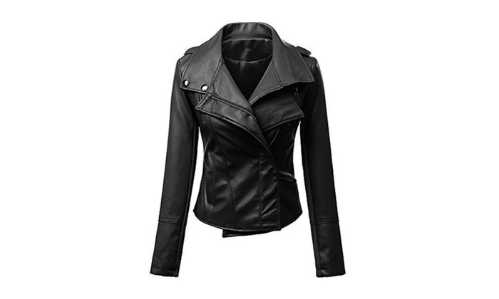 LJYH Women's Slim Lapel Motorcycle Faux Leather Short Biker Jacket