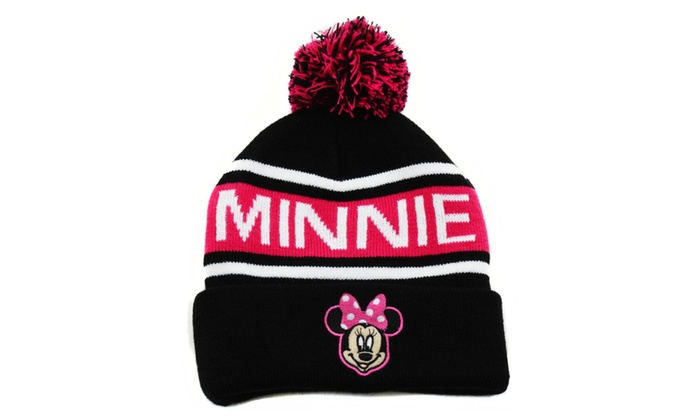 Pink Black Striped Disney Minnie Mouse Pom Cold Weather Beanie Hat