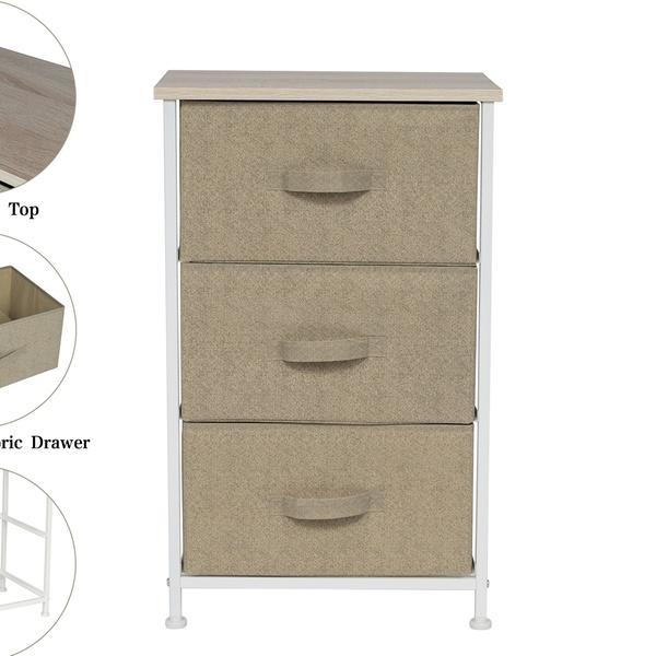 Kinbor 3 Drawer Fabric Bedside Table Dresser Cabinet Storage Organiser Metal