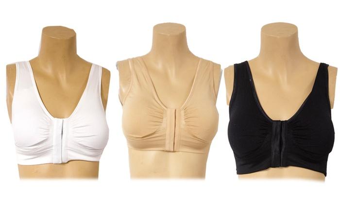 Carnival 3 Pack EZ Fit Comfort Bra, Black/Nude/White, XL