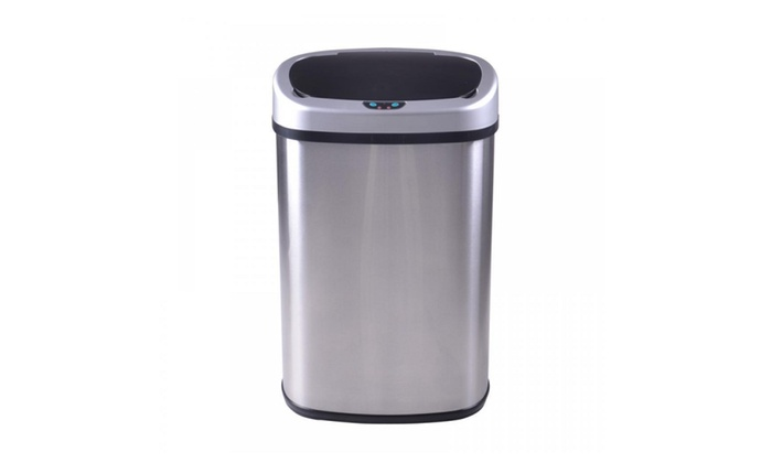 13-Gallon Touchless Sensor Automatic Stainless Steel Trash Can Kitchen