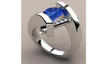 Women's 925 Sterling Silver Natural Sapphire Diamond Exquisite Ring