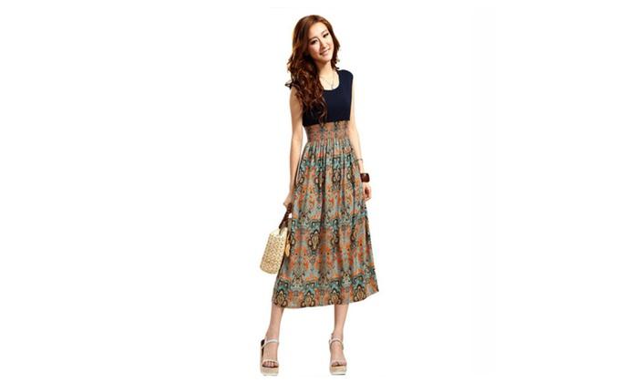 vista shop: Women Beach Dresses Bohemian Dress Vintage Print Patchwork