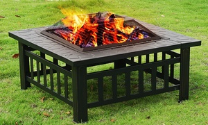 "32"" Garden Patio Square Metal Fireplace Heater Stove Fire Pit W/Cover"