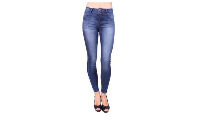 Cello Jeans Women Ankle Skinny Jeans with 3 Front ButtonAB15248
