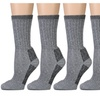 4 Pairs of Excell Mens Merino Wool Socks for Hiking, Camping, Gray