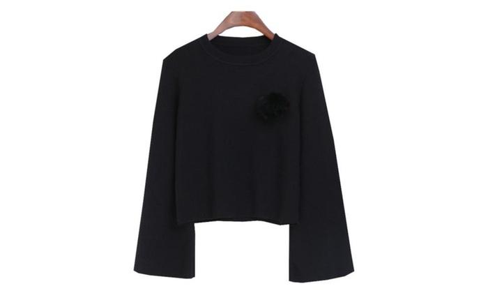 Women's Long Sleeve Straight Hem Simple Pullover Pullovers