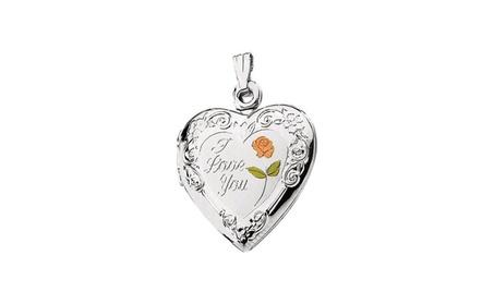 "Sterling Silver 27.5x19.25mm Enameled Roses ""I Love You"" Heart Locket 9cb0aa7b-8723-4332-807f-fa59466f311f"