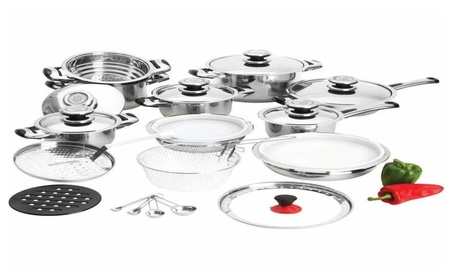 28pc High Quality Heavy Gauge Stainless Steel Cookware Set 62dfcc9b-b541-4ba4-9758-c304542450f0