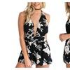 Rompers Print Lace Jumpsuit Summer Short pleated Overalls Jumpsuit