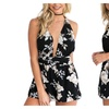 Women Rompers Print Lace Short Chest Wrapped Strapless Playsuit