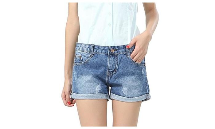 East Castle Women's Summer Latest Frayed Cutoff Denim Hot Pants W-196