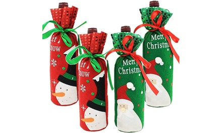 2-Pack Christmas Wine Bottle Cover Dining Room Table Decor