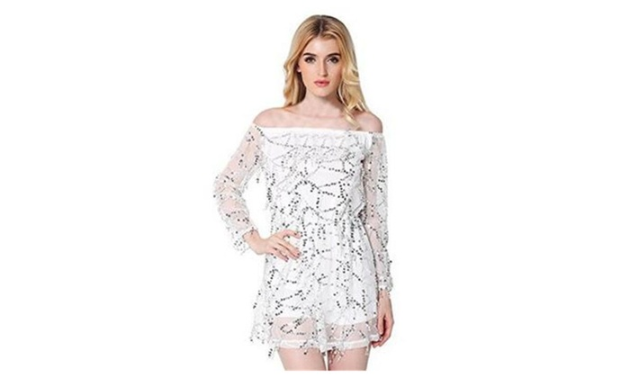 Women's Off Shoulder Net yarn Tassel Sequins Party Mini Dress