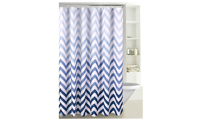 Fabric Shower Curtain Ombre Zig Zag Chevron Print Reinforced