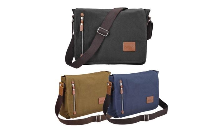 404e26439a Men s Vintage Canvas School Satchel Shoulder Messenger Laptop Bag 14 ...