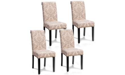 Costway Set of 4 Fabric Dining Chairs w/Nailhead Trim
