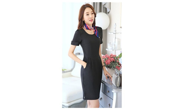 Chickle: Women's Pure Color Short Sleeve Wear to Work Office Pencil Dress