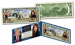 Donald and Melania Trump First Couple Genuine Legal Tender $2 Bill