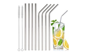 Stainless Steel Bent or Straight Drinking Straws (4- or 8-Pack)