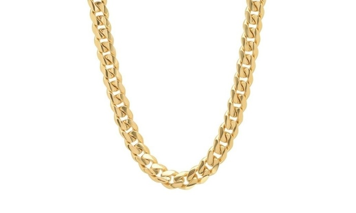 10k Gold Cuban Link Chain >> Up To 55 Off On 10k Gold Hollow Miami Cuban L Groupon Goods