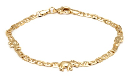 18K Gold Plated Elephant Charm Mariner Link Anklet Was: $29.99 Now: $9.99.
