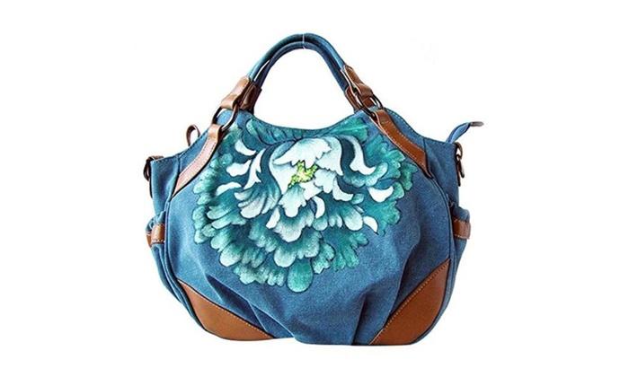 GESIMEI Women's Elegant Handbag Lady Painted Flower Canvas Top-Handle Hobo Bag