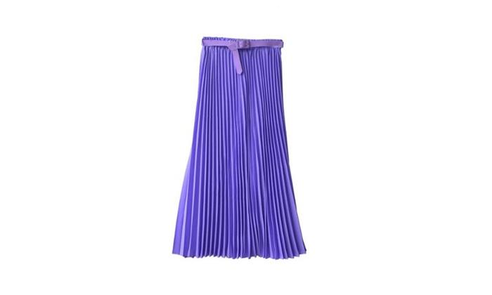 Women's Pleated Retro Maxi Long Skirt