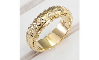 Women's Fashion 14k Gold Carved Flower Bride Wedding Engagement Rings