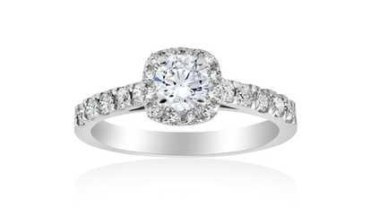Image Placeholder For 1ct Cushion Halo Diamond Engagement Ring 14K White Gold