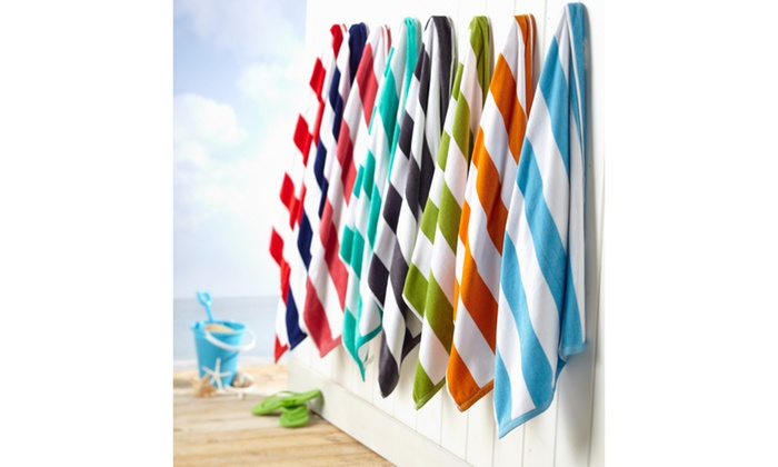 100 Cotton Cabana Stripe Velour Beach Towel 2 Or 4 Pack