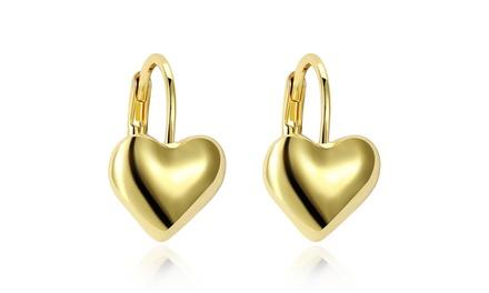 Sleek Heart Shaped 14K Gold Plated Leverback Earrings Was: $89.99 Now: $9.99