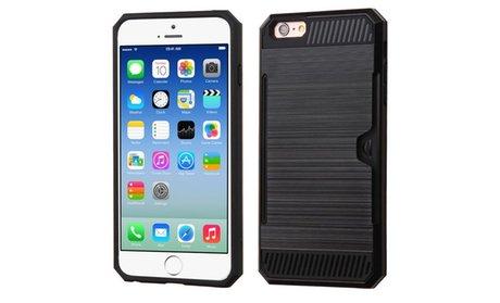 Black Brush Shockproof Hybrid Hard Card Slot Back Case For iPhone 6...!