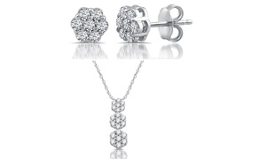 1/4ct Diamond Earrings in Sterling Silver with FREE 1/4ct Pendant by DeCarat