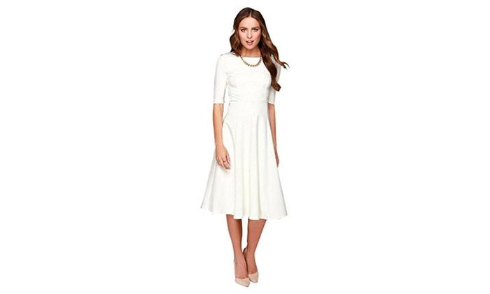 Dantiya Women's Half Sleeve Elegant Back Zipper A-Line Knee Long Dress