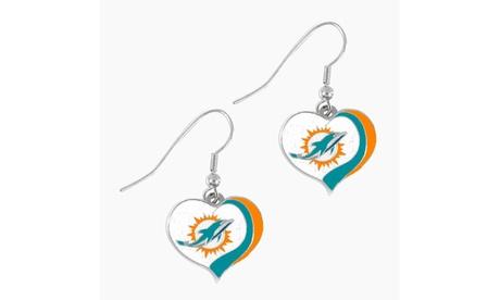 Miami Dolphins NFL Glitter Heart Earring Swirl Charm Set f7a38874-1218-4016-ac26-cc4e06c2de2c