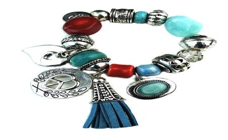 Silver-Tone Charm And Faceted Bead Stretch Bracelet 9e9b846f-8949-4e3f-a57e-2227dde314df