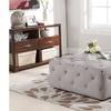 Teague Modern Linen-Upholstered Tufted Ottoman