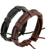 Black And Brown Color Optional Leather Woven Bracelet